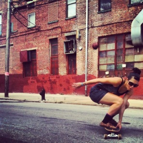 My sister Jess being awesome on her longboard image