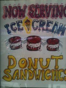 Poster advertising the ice cream donut sandwich image