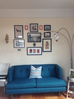 New CB2 couch and photo/print collage